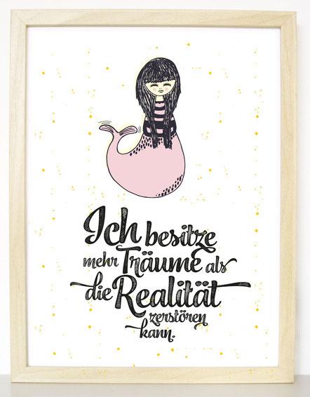 """Kunstdruck """"Ich besitze mehr Träume als die Realität zerstören kann"""" Meerjungfrau Print"""