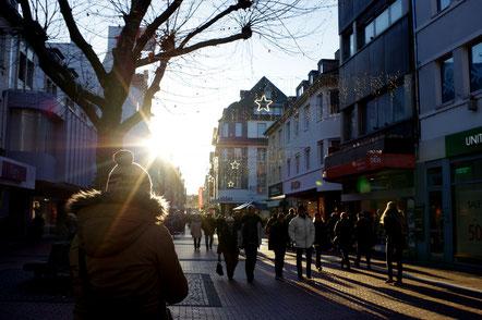 Gießen Seltersweg Winter Sonne