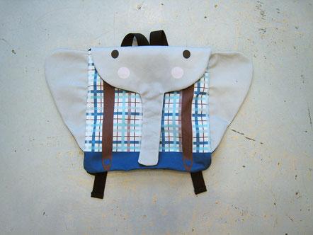 sac cartable crèche maternelle éléphant fabriqué en france fait main