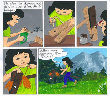 """Julie fabrique son cheval de bois Beau Prince. Extrait de la bande dessinée """"L'île de l'Oiseau de feu"""", Emmanuelle OLGUIN, COBEditions jeunesse"""