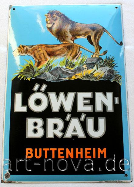 Emailschild Löwenbräu Buttenheim, ein Original um 1930 in wunderbaren Farben