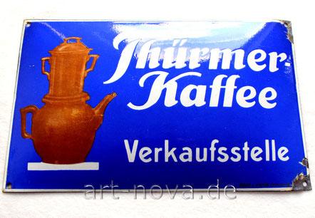 unrestauriertes blaues Emailschild Thürmer Kaffee Verkaufsstellen