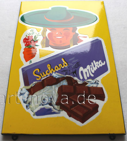 Bemerkenswert erhaltenes Emailschild von Milka Surchard Schokolade