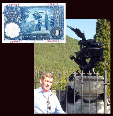 500 pesetas de España desde el Mausoleo del Tenor Gayarre