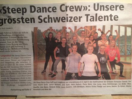 Bericht aus der neuen Oberaargauer Zeitung; mein Frauchen ist das ganz in Schwarz, (wie ich) in der hintersten Reihe links.