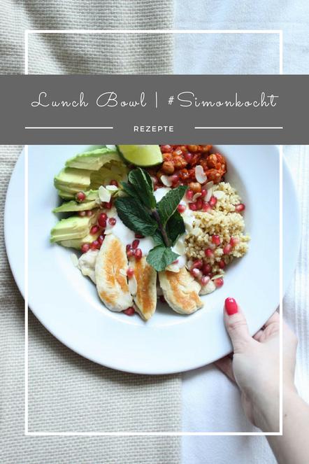 Eine tolle, ausgewogene Lunchbowl mit Superfoods, wie Avocado, Bohnen, Couscous und Granatapfel.