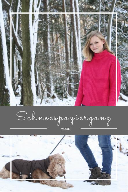 Weiße Weihnachten, ein Hund, der im Schnee tobt, eine verschneite Landschaft und ein toller Grobstrickpullover in Pink von H&M.