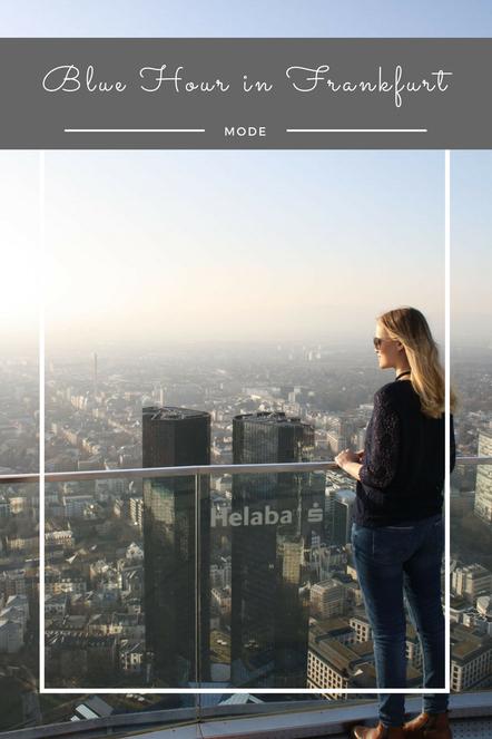 Über den Dächern von Frankfurt: Ein entspanntest Streetstyleoutfit mit blauer Spitze.