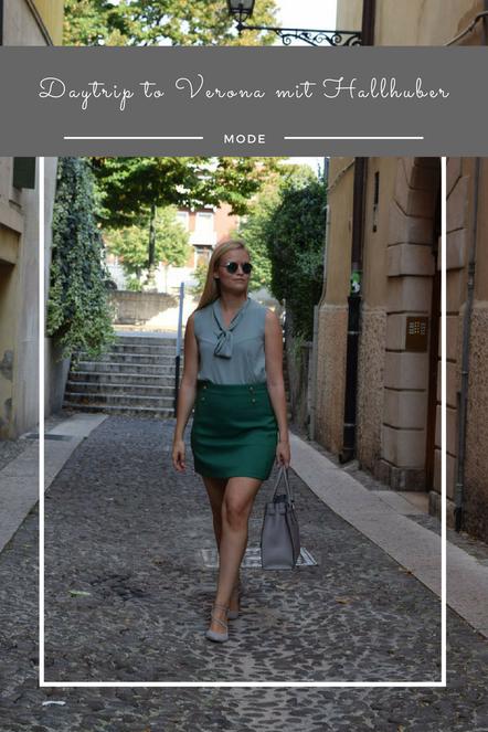 Ein schickes Outfit für Bella Italia - Mit grünen und grauen Details zum Sightseeing und Shoppen in Verona.