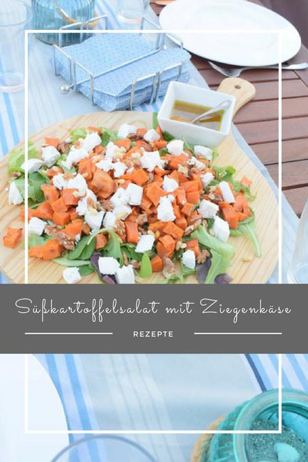 Süßkartoffelsalat mit Ziegenkäse. Ein toller Hingucker für die nächste Grillparty und unwahrscheinlich lecker.