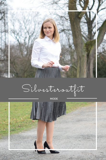 Happy New Year - Silvesterlook - Outfit mit silberfarbenem Plisseerock.