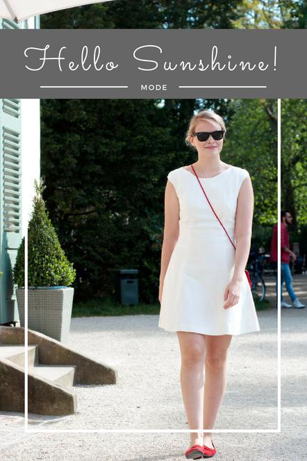 Ein entspannter und doch so schicker Sommer-Look. Mit weißem Kleid und roten Accessoires.