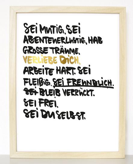 "Kunstdruck ""sei mutig, sei du selbst"""