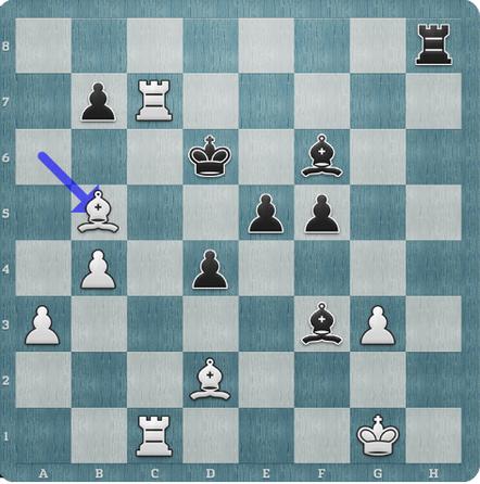 Stellung nach 41.Lb5 - nun Th1+!