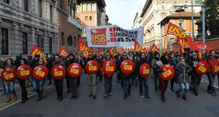 """Unione Sindacale di Base"" - demonstrationsblok"