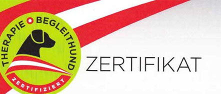 Zertifikat Therapiebegleithunde, helfende Pfote,