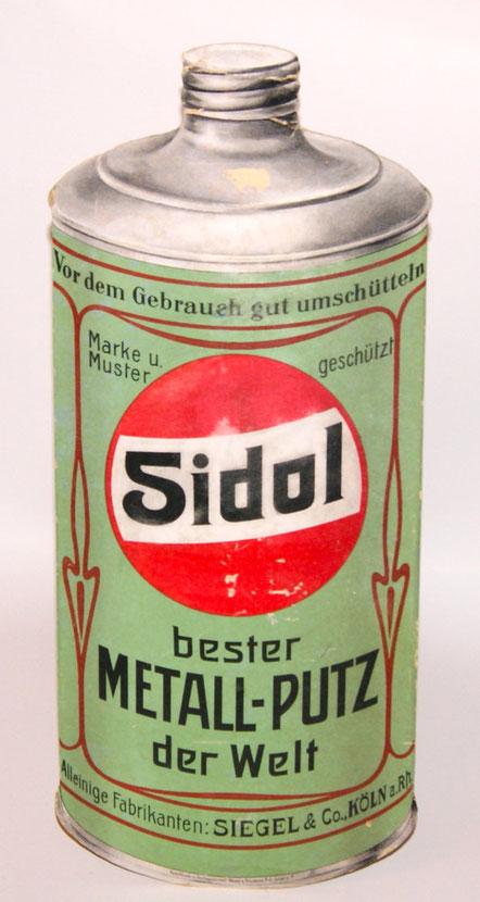 großer SIDOL Metallputz Pappaufsteller der Firma Siegel Köln