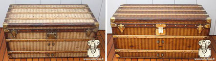Louis Vuitton courier trunk from  1885 Woven / Embroidered canvas restoration   striped Vuitton