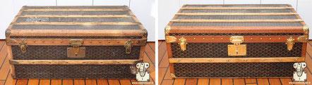 Goyard cabin trunk Circa  1910 Pampering a chevron goyardine canvas