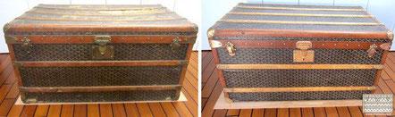 Goyard Courier Trunk Circa  1910 Restoration of structure and scrubbing of the chevron Goyardine fabric