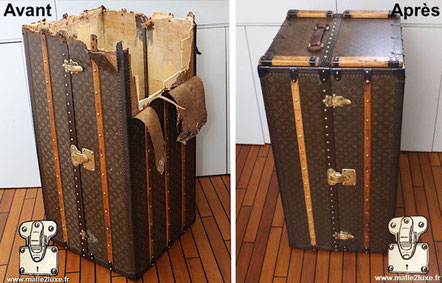 Louis Vuitton wardrobe trunk from 1935 The top Mark V  canvas  is missing the partially destroyed wooden structure . Read more...