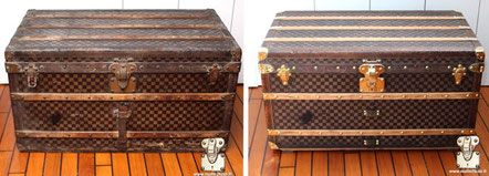 Louis Vuitton courier trunk from 1890 Restoration of Mark II checkered canvas .