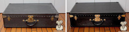 Louis Vuitton suitcase from  2010 Alzer suitcase 75 cm, exterior cleaning in black epi leather .