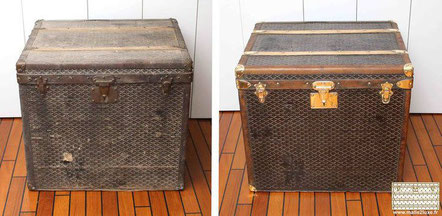 Hat trunk Goyard Circa  1900 restoration of the iconic chevron Goyardine canvas.