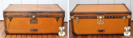 Louis Vuitton Cabin Trunk from  1907 restoration of a yellow Vuittonite canvas cabin trunk