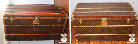 Louis Vuitton mail trunk  circa 1910 remove varnish and retouch repaint, false strip stable on stenciled canvas LV Mark II  Read more ...