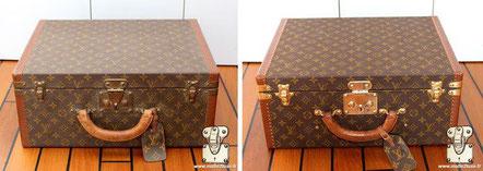 Louis Vuitton Super President suitcase Circa  1980 Elimination of impurities on modern Louis Vuitton PVC canvas .