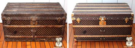 Malle trunk louis vuitton damier 1890 mark 1 restauration de la toile