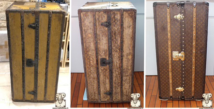 Louis Vuitton Wardrobe trunk from 1914 Extreme restoration of a Mark II monogram canvas covered with several layers of paint .