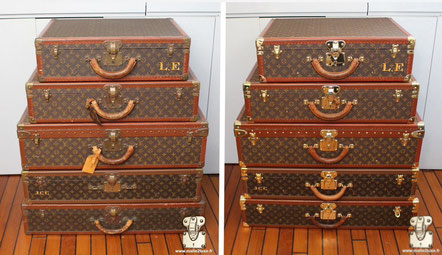 Lot of Louis Vuitton suitcase circa 1990 Cleaning of the pvc canvas and lozines, replacement of a missing leather handle.