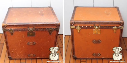 Louis Vuitton hat trunk from 1909 The hat trunk is often square in shape, it is covered with orange Vuittonite canvas restored to regain its dazzling charm.