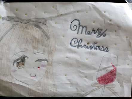 長崎 諫早 ピアノ ハープ 生徒作 クリスマスの絵