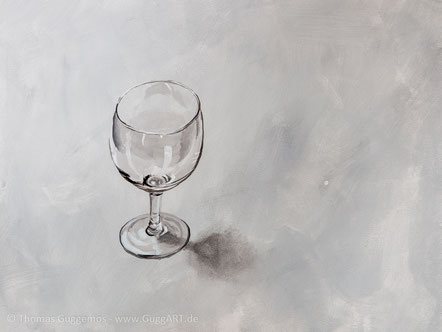Weinglas malen mit Acryl - Realistisch malen mit Acrylfarben