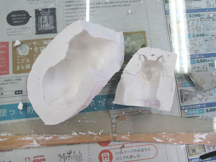 乾漆の猫 石膏型1