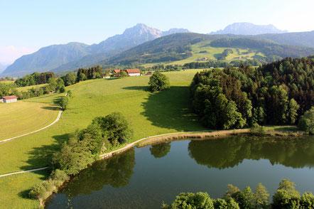 Höglwörther See, im Hintergrund der Hochstaufen und Zwiesel