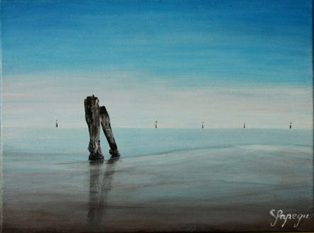 Ruhe an der See 30 x 40 cm Acryl auf Leinwand