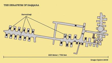 Saqqara : Plan du Serapeum d'après l'original dessiné par Auguste Mariette