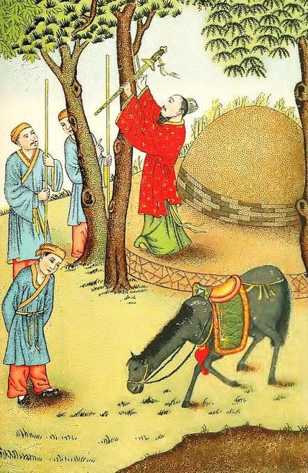 Ki-Tcha suspend son épée. Henri Doré : ... Superstitions en Chine. Troisième partie : Popularisation des trois religions. La doctrine du confucéisme (Jou-kiao). Variétés sinologiques n° 51, Zi-ka-wei, 1919.