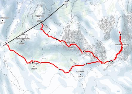 Speikberg bei einer Skitour über Margschierf, Heilbronner Kreuz, Niederer Speikberg und Gjaidalm