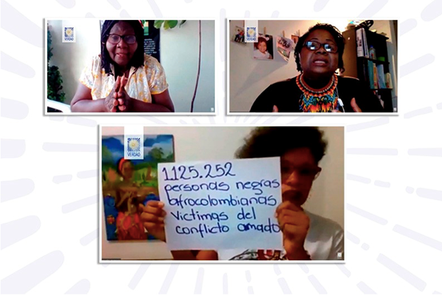 "Virtual meeting organized by the Commission for the Clarification of Truth on August 13, 2020 ""Impactos del conflicto armado en la familia negra""."