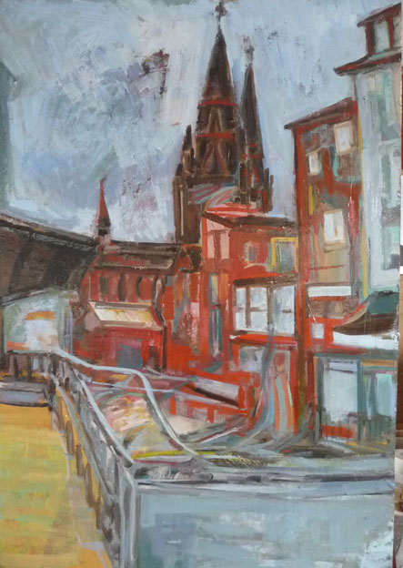 Blick zur E-kirche - Bahnhofsstrasse 101x69,5 Öl HF 2021