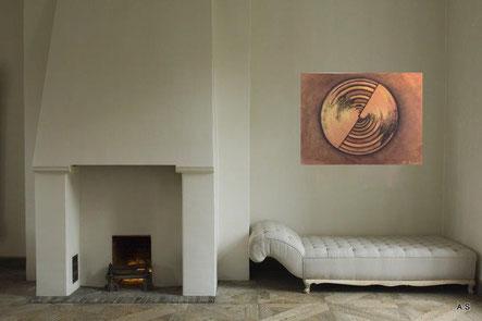 Wohnbeispiel Wandbild Gemälde Jahresringe in einem Kaminzimmer