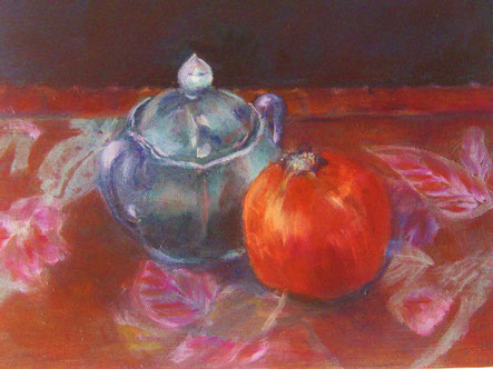 Granatapfel mit Zuckerdose, Öl auf Leinwand, 25x30