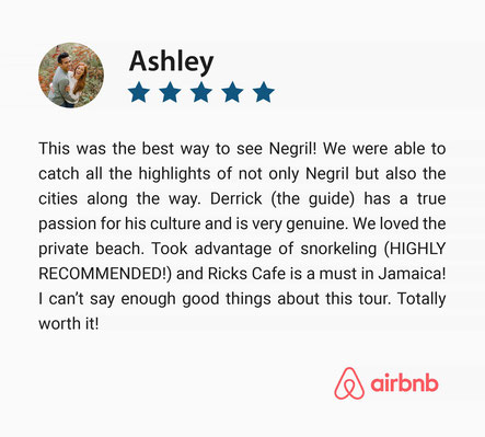 Five Star Positive Guest Review on Day Trip to Negril, Jamaica