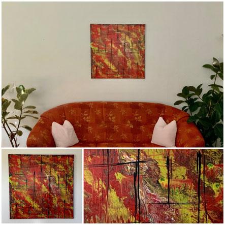 Feuerwerk der Gefühle, Acryl auf Leinwand, 50x70 cm