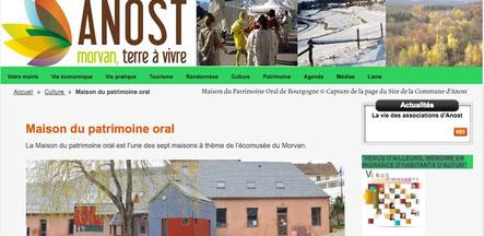 Capture d'écran de la page de la Maison du Patrimoine Oral de Bourgogne sur le site de la commune d'Anost